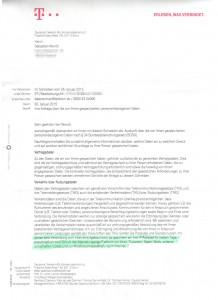Datenauskunft Telekom